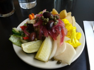 Pickle platter at Kenny and Zuke's Deli