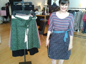 Designer Sarah Bibb models skirt at Folly