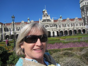 selfie in front of Dunedin Railway Station