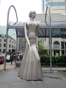 Tribute to NZ native Katherine Mansfield in Wellington cbd