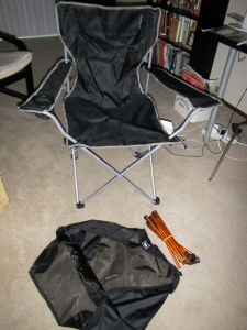 After 3 seconds, the Target chair is ready to sit in and the REI chair is only unpacked.