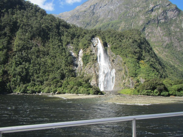 One of many waterfalls in Milford Sound.