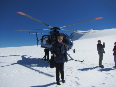 Mom taking photos on glacier