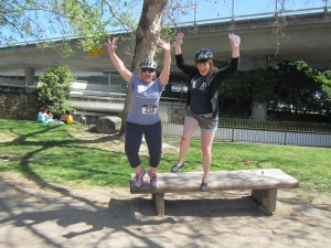 A friendly competitor suggested we jump for joy off a bench to ensure all four team feet off the ground.