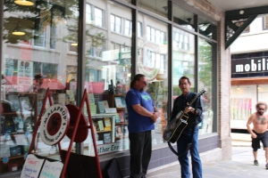 Buskers outside Malaprop's Bookstore and Cafe