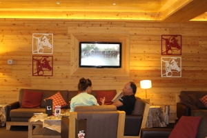 Watching Le Tour with Thomson Travel staff in hotel Mercure St Lary Soulan.
