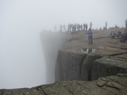 Preikestolen, Norway in the fog