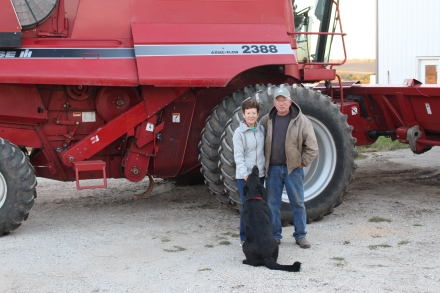 Notice how big the tires! Leo, Jeanette and dog Onyx