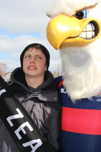 All Blacks fan grimaces at Rookie Eagle (USA mascot)