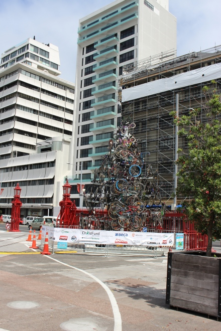 Bicycle sculpture at Queen and Quay Streets.