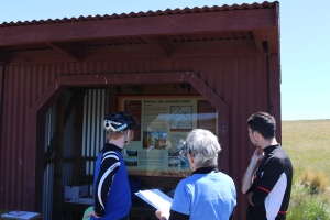 Council volunteers interview Rail Trail riders.
