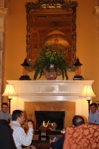 Fireside chats at Hermitage Hotel fireplace