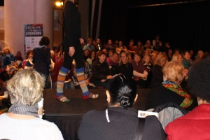 Socks featured at Rowan fashion show.