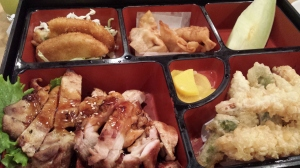 Bento box includes starters of soup and salad and is enough to feed two!
