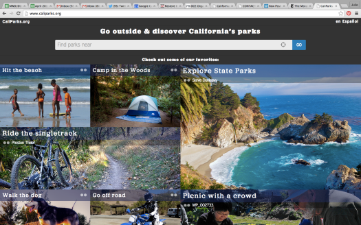 Screenshot of Caliparks.org homepage.