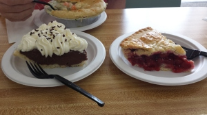 Chocolate pie and cherry pie