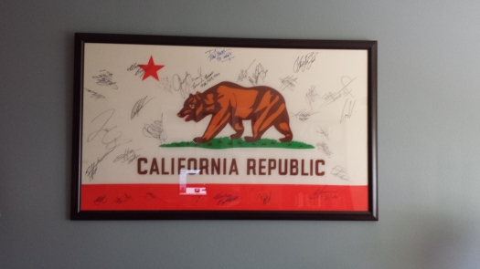 Riders from the Trek Factory Racing team were among the very first people to sign my California state flag.