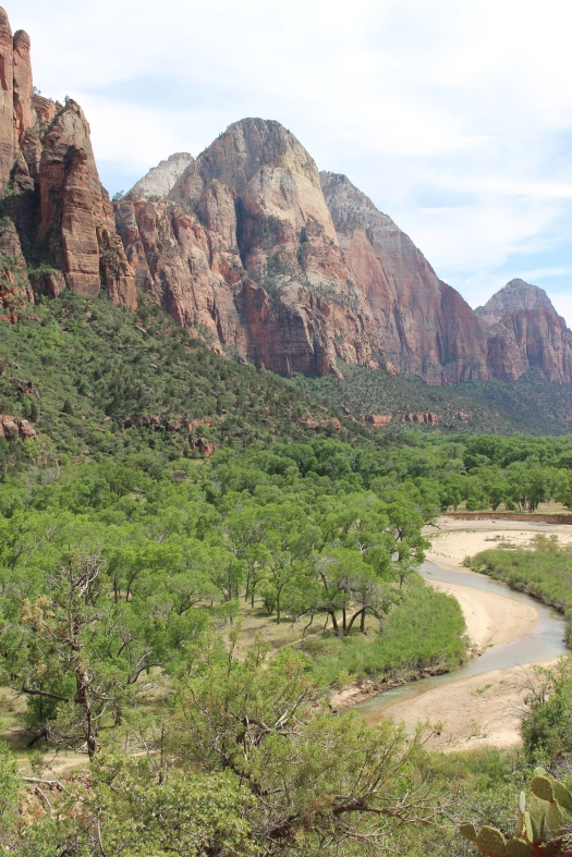 The view of Zion Canyon from the lower Emerald Pools Trail.