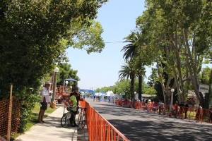 The finish line for Amgen Stage Two in Lodi.