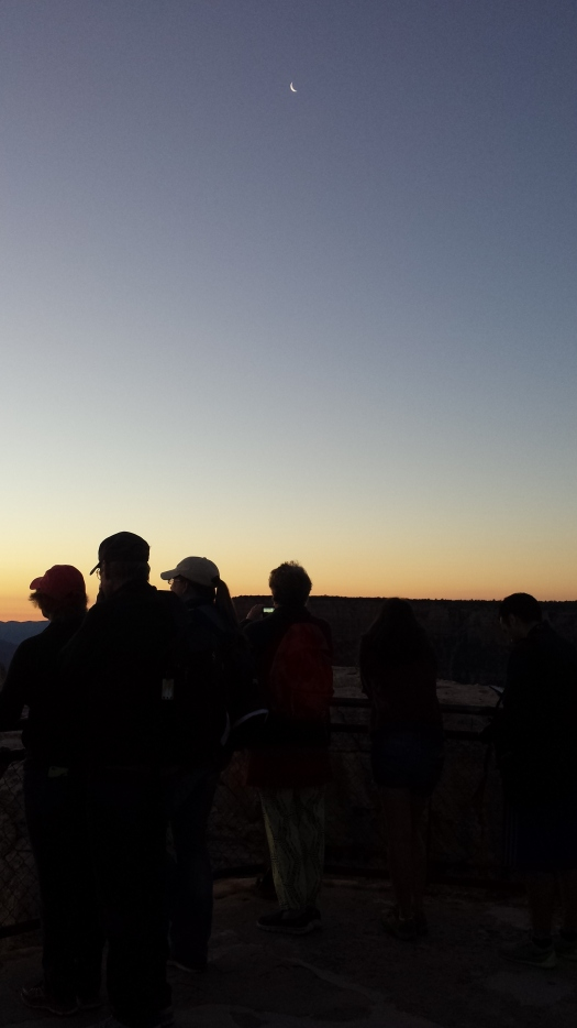 Waiting for the sun to peak over the horizon, the crowds grew at Mather Point.