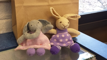 Bunny and Elephant jumped into a padded mail envelope and are flying off to the United Kingdom