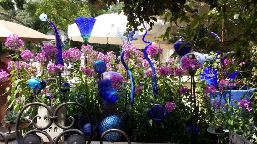 Blue glass in the garden