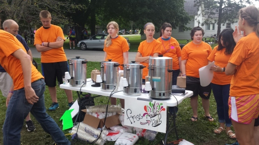 These volunteers had the best intentions of providing free coffee--except they blew a fuse and so no coffee.