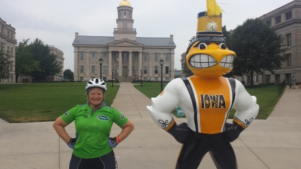 American Julie with Hawkeye at University of Iowa.
