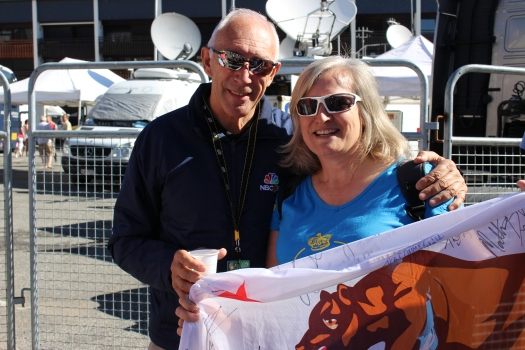 Phil Liggett with American Julie