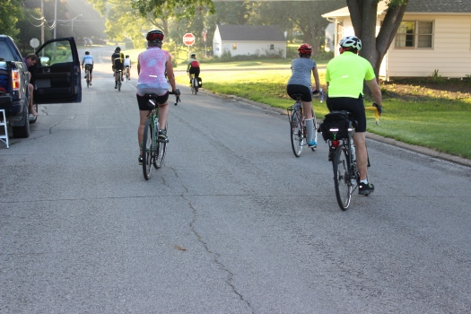 Team Larry members head out to the RAGBRAI route  at 7:00 a.m.