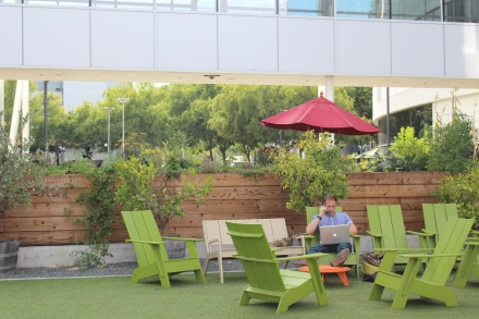 Garden furniture provides an alternative meeting or workspace next to the raised garden beds.
