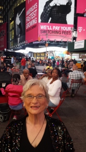 As you can see by Mom's smile, she was enjoying New York in spite of her tired knees.
