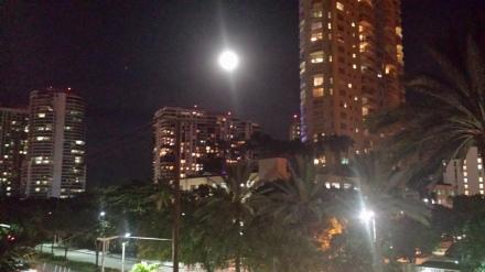 Miami at night from hotel balcony.