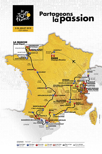our de France route in 2016 moves around the country counterclockwise.