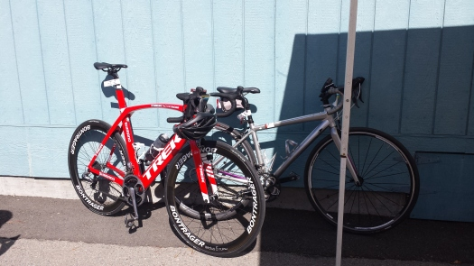 Jensie's brand new Trek Madrone parked right next to my humble Trixie.