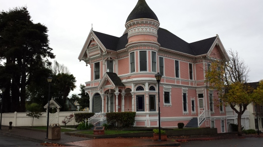 The Pink Lady is across the street from the Carson Mansion.