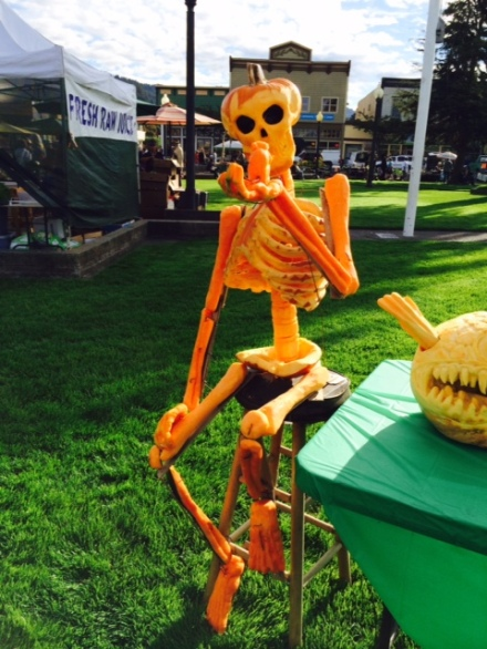 Pumpkin skeleton on Arcata Plaza